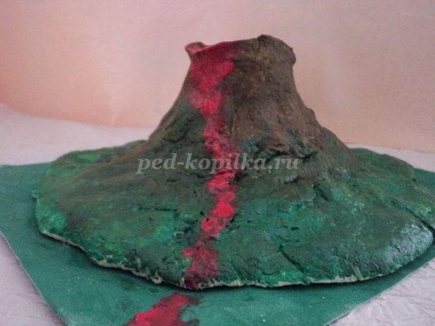 Макет вулкана из соленого теста своими руками 12