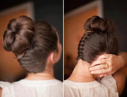 Пучки с плетением из кос