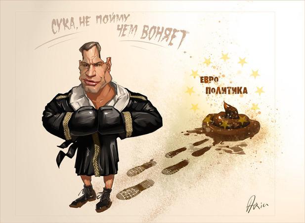 карикатура - Кличко вляпался в политику