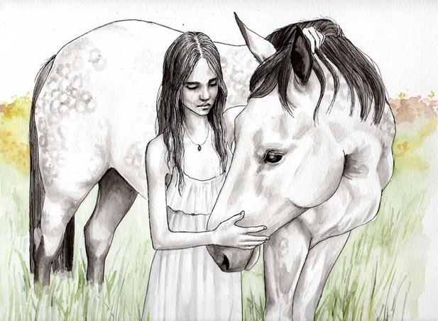 Девочка на лошади рисунок карандашом