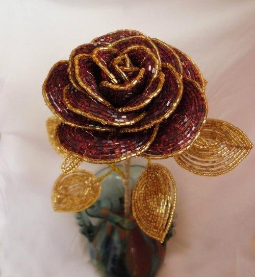 Роза из бисера мастер класс с пошаговым французское плетение