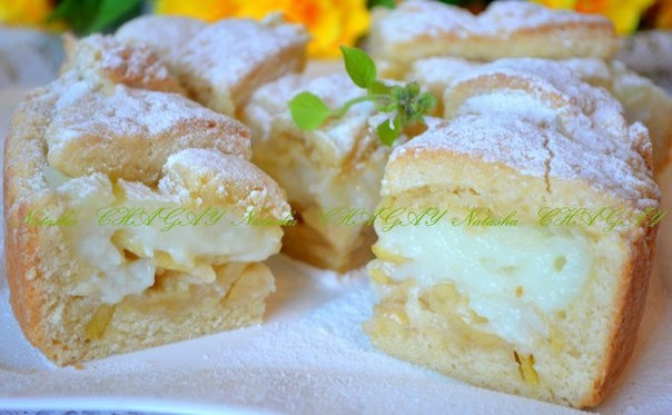 Пирог с заварным кремом и яблоками рецепт