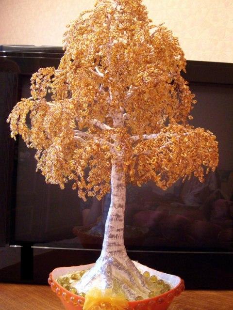 Осенняя берёзка из бисера мастер класс с пошаговым