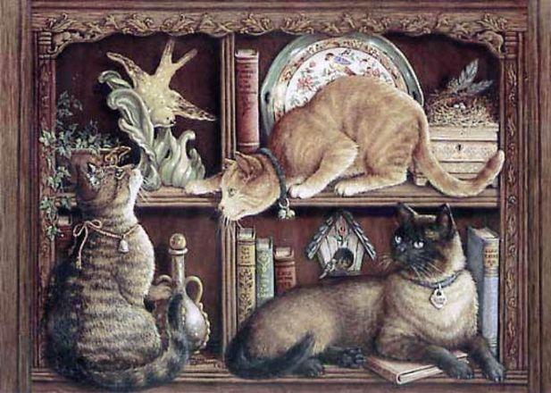Ровременная вышивка: Кошка и
