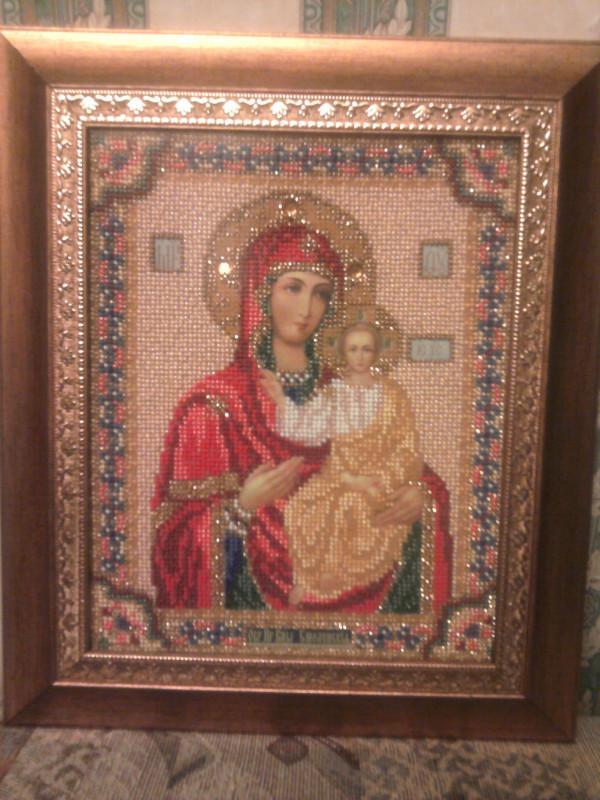 """4.  """"Богородица Смоленская """" - первая вышитая мной икона.  Использован набор для вышивания бисером Кроше..."""