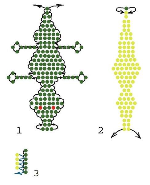 Мастер-класс 180 Крокодильчик из бисера (рис.1) - Домохозяйка