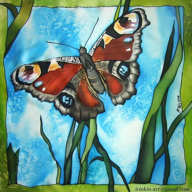 Рисунок для батика с бабочками
