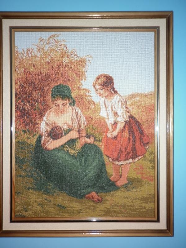 Вышивка мать и дети 155