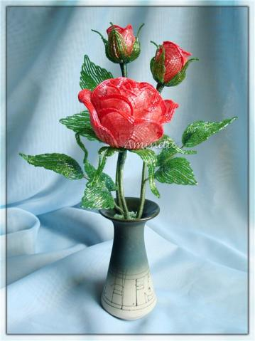 Роза из бисера. Мастер-класс. - Olga